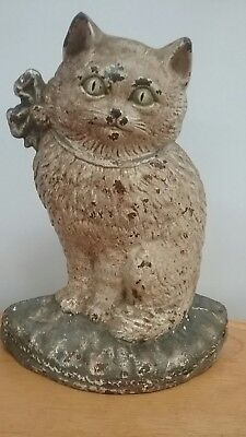 """Vintage Antique Cast Iron Doorstop Cat Green Eyes Green Bow Sitting 8 1/2"""" Tall"""