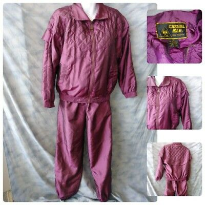 Vtg 90S Casual Isle Gold Collection Womens Small Purple Track Suit Jacket Pants