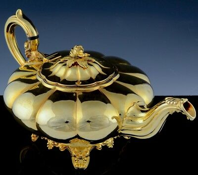Amazing Large 22K Gold Plated 1839 Dublin Irish Sterling Silver Armorial Teapot