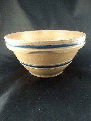 Antique Vintage Blue & White Band Yellow Ware #8 Pottery Mixing Bowl Notched Rim