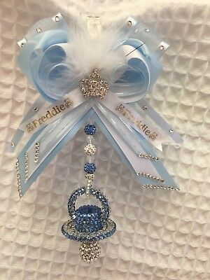** PERSONALISED ** Romany pram charm Dummy Crystal Bling  Push Chair Blue