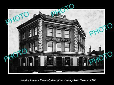 OLD LARGE HISTORIC PHOTO ANERLEY LONDON ENGLAND, THE ANERLEY ARMS TAVERN c1930
