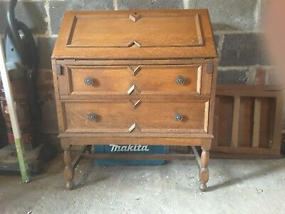 Old Bureaux writing desk with 2 drawers rustic oak