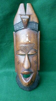 Hand Carved Wall Hanging African Folk Art Mask with bone inlay #7