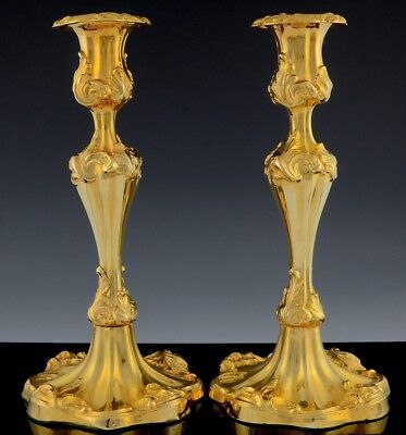 INCREDBLE LARGE HEAVY PAIR c1900 ART NOUVEAU 22k GOLD PLATED SILVER CANDLESTICKS