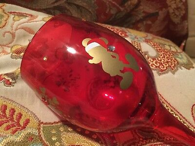 Disney Parks Mickey Christmas Wine Glass Red Gold Snowflakes Gems