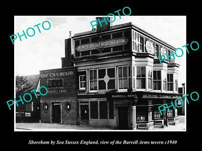 OLD LARGE HISTORIC PHOTO SHOREHAM BY SEA ENGLAND, THE BURRELL ARMS TAVERN c1940