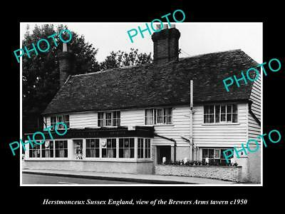 OLD LARGE HISTORIC PHOTO HERSTMONCEUX SUSSEX ENGLAND, BREWERS ARMS TAVERN c1950
