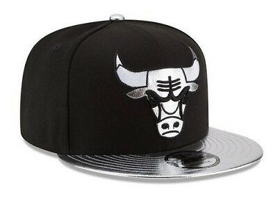 be5f2f08b05f72 New Era Chicago Bulls Snapback Hat Cap Black Shiny Trim 9Fifty Jordan NEW