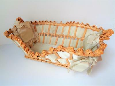 """Antique Wicker Doll Basket Cradle for 6"""" Character Baby Sewing Pin Cushion Bed"""