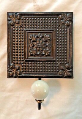 Bronze Stamped Tin Tile Coat Wall Hook Hanger Decorative FREE SHIPPING!