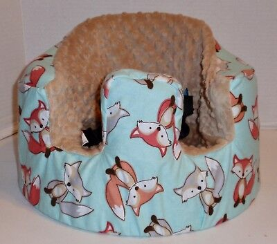 New Bumbo Floor Seat COVER • Cute Foxes w/Tan Seat • Safety Strap Ready