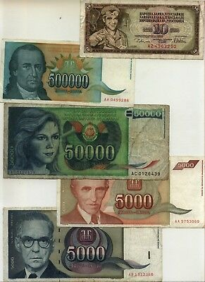 Five Different Notes YUGOSLAVIA  circulated