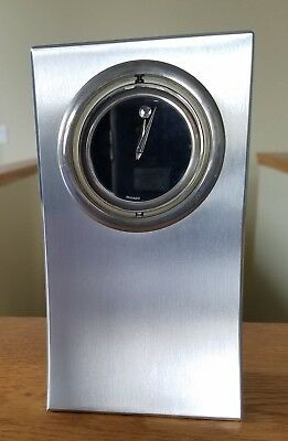 Movado Chrome Museum Spinning Dial Desk Table Clock