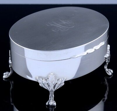 Elegnt Antique Ryrie Birks Sterling Silver Paw Footed Ring Jewellery Dresser Box