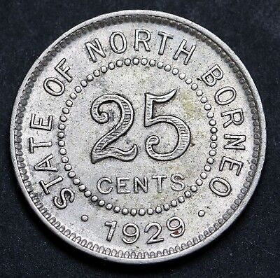 1929 H British North Borneo 25 Cents KM# 6 Rare Silver Coin  EF