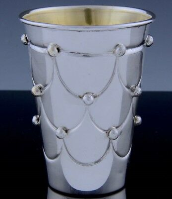 VRY FINE GOLD GILT CONTINENTAL STERLING SILVER WINE CUP w BUTTONED PILLOW DESIGN