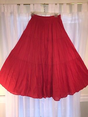 Square Dance Ladies Red Broomstick Prairie Skirt- Medium/ Large