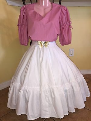 Square Dance Mauve Top & White Skirt- Medium/ Large