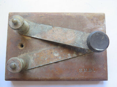 MORSE CODE KEY ONLY, MARKED S.M. & I. on WOODEN (PINE) BASE c1910s PICKER FIND