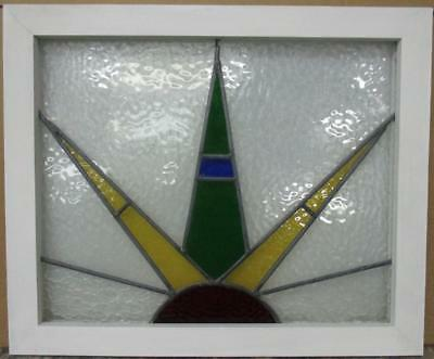 """MID SIZED OLD ENGLISH LEADED STAINED GLASS WINDOW Colorful Burst 24.5"""" x 20.25"""""""