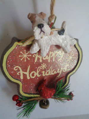 """HAND SCULPTED ART~~WIRE FOX TERRIER """"HAPPY HOLIDAYS"""" Christmas Tree ORNAMENT~~"""