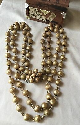 Antique Vintage Art Deco 2 Strand link Metal Ball Chain Brass gold tone Necklace