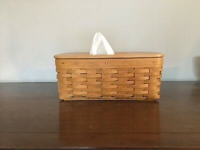 "Longaberger Long Tissue Basket ""2000"" with lid and protector pre owned"