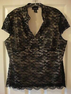 Lane Bryant Plus Size Lined French Lace Cap-Sleeved Blouse Size 18/20