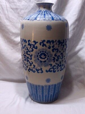 """14"""" TALL Large Vintage Chinese Blue&White Porcelain Vase Hand Painted."""