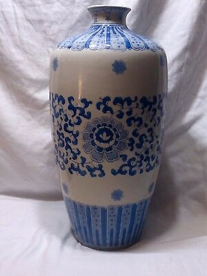 "14"" TALL Large Vintage Chinese Blue&White Porcelain Vase Hand Painted."