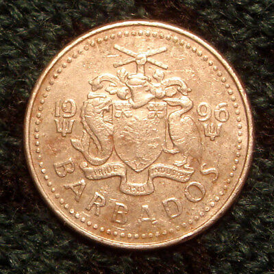 Nice 1996 Barbados 25 Cent Coin Twenty Five Cents KM#13 - Morgan Lewis Windmill