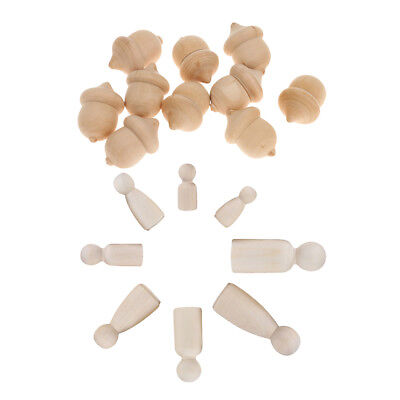 22x Lots Natural Unpainted Wooden Peg Doll Bodies Acorns for DIY Arts Crafts