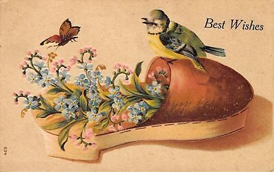 Blue Green Yellow Bird~Butterfly on Pink Blue Flowers in Shoe~Embossed~1908 PC