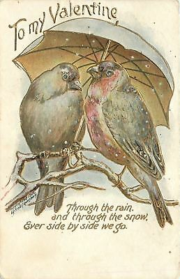 Valentine~Love Birds On Snowy Branch~Cozy Under Umbrella~Side By Side~Gold~Emb