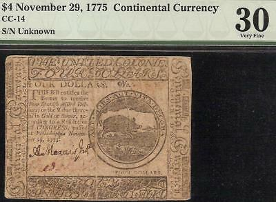1775 4$ Four Dollar Wild Boar Continental Currency Colonial Note Money Cc-14 Pmg