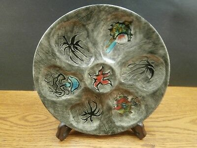 Rare Vintage Art Pottery Oyster Plate Hand Painted Quimper Youen France  Ex Cond