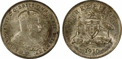 1910 Threepence 3D graded MS64 by PCGS