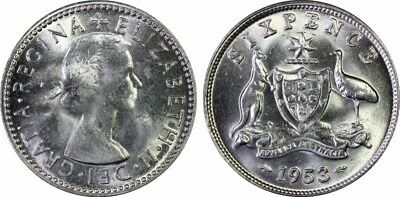 Australia 1953(m) Sixpence 6D graded MS64 by PCGS
