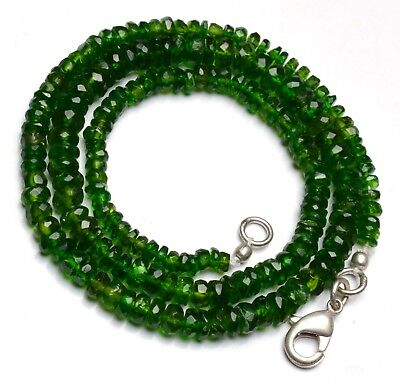 Natural Gem Russian Chrome Diopside 3-5MM Size Faceted Rondelle Beads Necklace