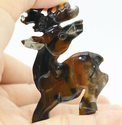 Chinese Hongshan culture style black brown agate hand carved sika deer L169