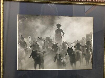 Original charcoal/ pencil painting of young boy with goatherd by local artist