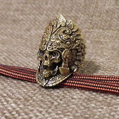 """Collectible Solid Bronze Bead """"Priest"""" knife lanyard Paracord keyring Handmade"""