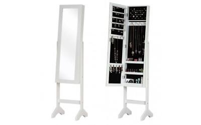 Floor Mirror Full Length With Stand Freestanding Jewellery Storage LED Cabinet