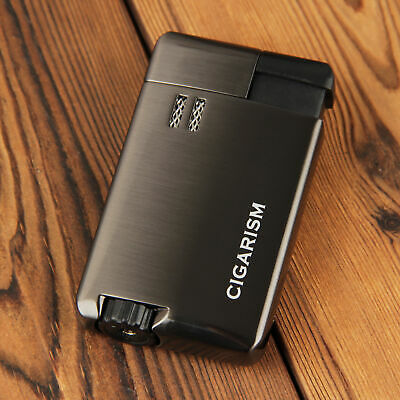 CIGARISM Black 4 Torch Red Flame Cigar Lighter W/ Punch