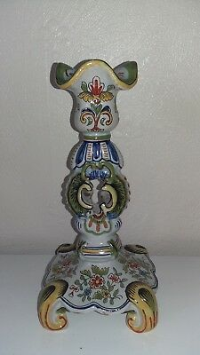 Antique French Faience Candlestick Signed