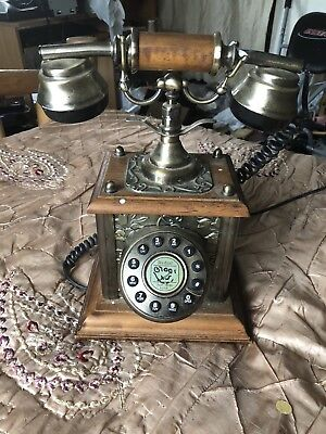 Wood And Brass Vintage Retro Push Button Corded Telephone