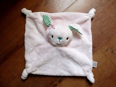 Boots Mini Club Pink Bunny Baby Comforter Blankie Green Gingham Ears doudou