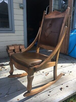 Vintage Rocking Chair With Leather