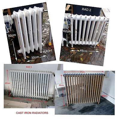 Cast Iron Radiators - job lot of 4 - various sizes 1950s - working condition